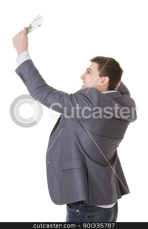 Happy Young Businessman Holding Money stock photo, Happy young businessman holding money isolated ob white background by Iryna Rasko