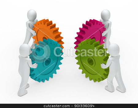 3d business man push gear stock photo, 3d business men push a gear colorful by d3images