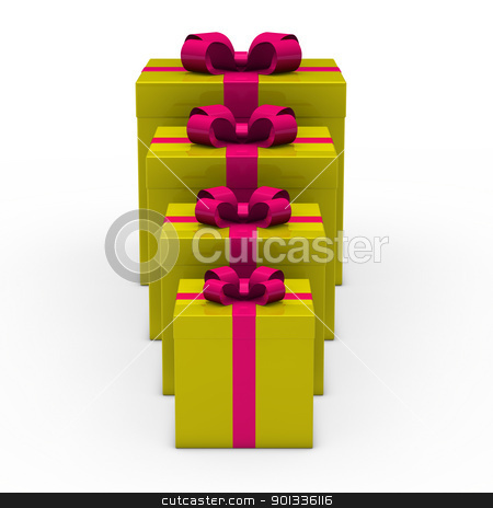 3d green gift small to big stock photo, 3d gold gift box small to big by d3images