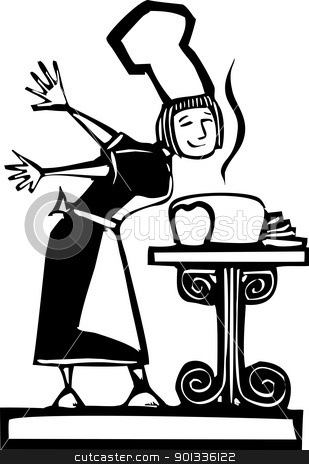 Chef and baked Bread stock vector clipart, Woman chef smelling some fresh baked bread by Jeffrey Thompson