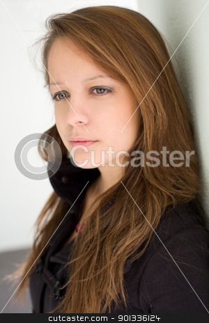 Thoughtful young girl. stock photo, Closeup portrait of thoughtful young brunette girl. by exvivo