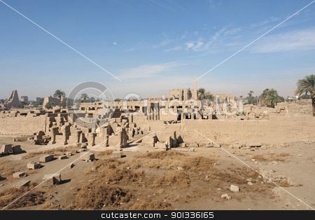 Precinct of Amun-Re in Egypt stock photo, sunny illuminated architectural scenery of the Precinct of Amun-Re in Egypt (Africa) by prill