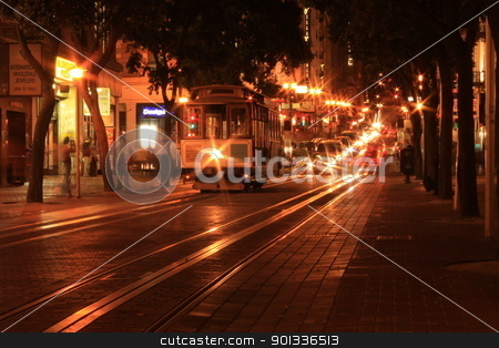 The people and the Cable Car stock photo, A shot of walking people and the Cable Cars in San Francisco by willeye