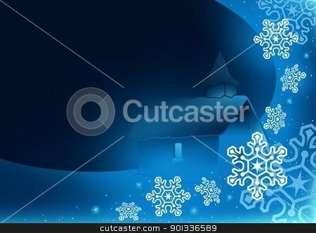 Christmas Greeting stock photo, Blue Christmas Greeting with Church - Abstract Illustration by derocz