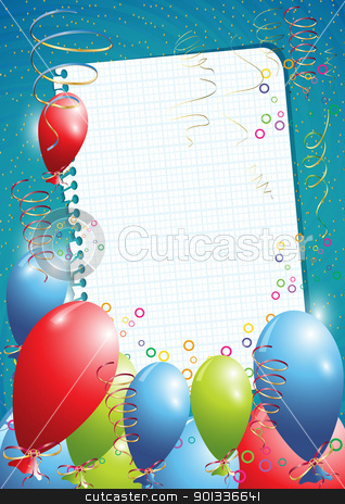 Birthday background stock vector clipart, Blue birthday