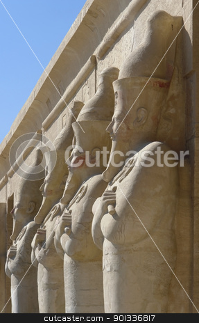 figures at the Mortuary Temple of Hatshepsut in Egypt stock photo, architectural detail of the Mortuary Temple of Hatshepsut in Egypt with stone sculptures in a row by prill