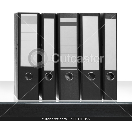 folders on desk surface stock photo, some Folders on desk surface in white back by prill
