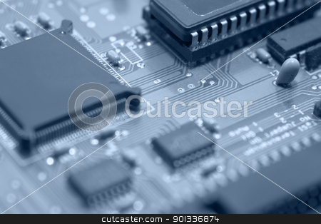 circuit board detail stock photo, blue toned detail of a circuit board by prill