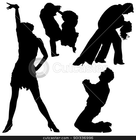 Dance Silhouettes stock photo, Dance Silhouettes - black illustrations and classic dance, by derocz