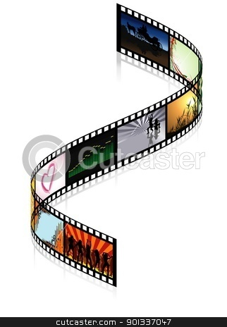Colored Filmstrip stock photo, Colored Filmstrip - detailed illustration by derocz