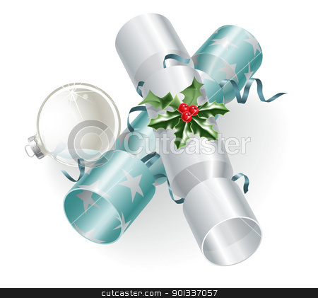 Christmas crackers and decoration stock vector clipart, An illustration of turquoise blue and silver Christmas crackers with holly, ribbons and Christmas ball bauble decoration.  by Christos Georghiou