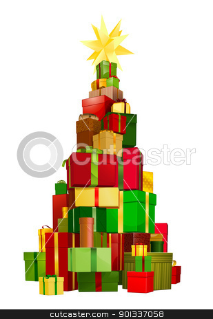 Christmas tree gifts stock vector clipart, Illustration of a stack of gifts piled up in a Christmas tree shape with star on top by Christos Georghiou