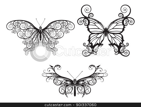 Abstract butterflies stock vector clipart, Illustrations of stylised abstract butterflies with patterns and swirls making up wings  by Christos Georghiou