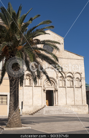 Termoli (Campobasso, Molise, Italy) - Cathedral facade and palm  stock photo, Termoli (Campobasso, Molise, Italy) - Cathedral facade by clodio
