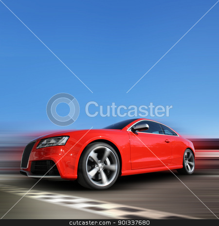 Red car stock photo, red sports car on a colorful background by Viktor Thaut