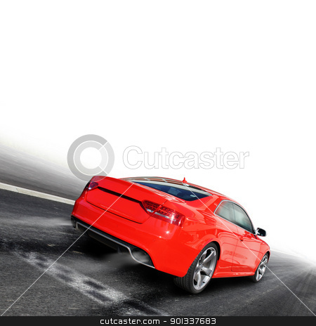 Race stock photo, red sports car on a colorful background by Viktor Thaut