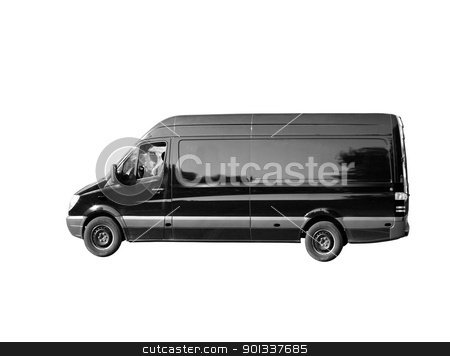 Black Van stock photo, A black van on the white background by Viktor Thaut