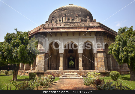 Sikandar Lodi Tomb Gardens New Delhi India stock photo, Large Ancient Dome Sikandar Lodi Tomb Lodi Gardens New Delhi India by William Perry