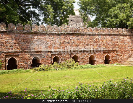 Stone Ramparts Sikandar Lodi Tomb Gardens New Delhi India stock photo, Stone Ramparts Sikandar Lodi Tomb Lodi Gardens New Delhi India  by William Perry