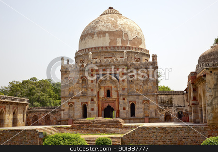 Ancient Dome Bara Gumbad Tomb Lodi Gardens New Delhi India stock photo, Ancient Dome Bara Gumbad Tomb Lodi Gardens New Delhi India by William Perry