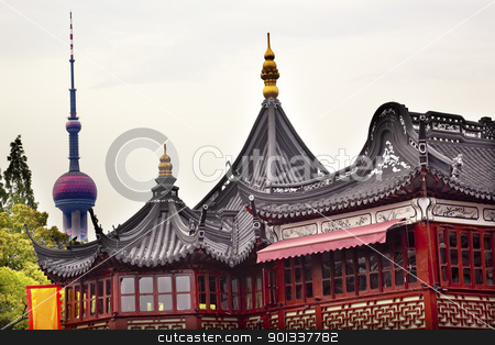 TV Tower Old Shanghai Builings Yuyuan Garden China stock photo, TV Tower Old Shanghai Houses Yuyuan Garden China by William Perry