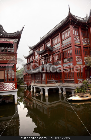 Old Shanghai Builings Yuyuan Garden Reflections China stock photo, Old Shanghai Houses Pond Reflection Yuyuan Garden China by William Perry