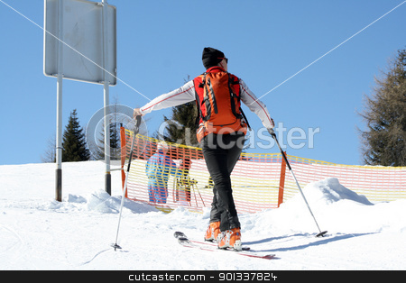 Old man winter holiday in the Alps stock photo, Old man in skiing in the Alps by Viktor Thaut
