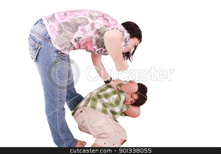 Woman hitting a son who cringes, isolated on white background  stock photo, Woman hitting a son who cringes, isolated on white background  by dacasdo
