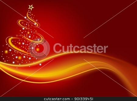 Fiery Christmas Tree stock photo, Fiery Christmas Tree - colored abstract illustration by derocz