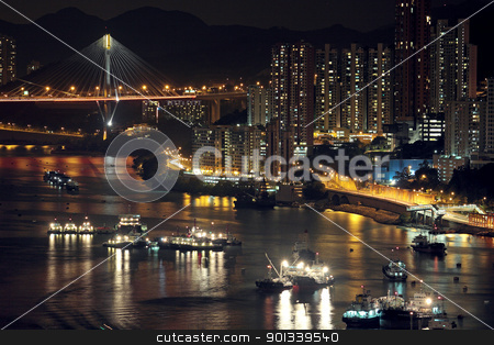 Night shot of a city skyline. stock photo, Night shot of a city skyline. by Keng po Leung