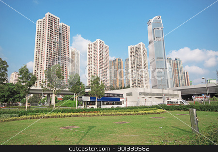 modern office building in dusk  stock photo, modern office building in dusk  by Keng po Leung