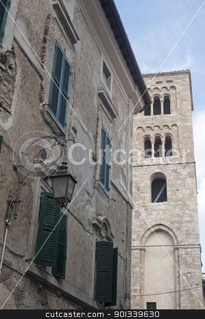 Anagni (Frosinone, Lazio, Italy) - Medieval church belfry stock photo, Anagni (Frosinone, Lazio, Italy) - Medieval church belfry by clodio