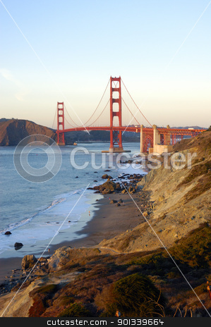 Golden gate bridge from the Presidio stock photo, Golden gate bridge from the Presidio, with sail boats and a cruise ship in the bay by Jeffrey Banke