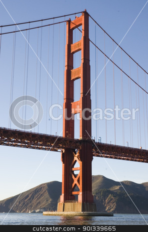 Golden gate bridge from a boat stock photo, Golden gate bridge from the Presidio, from a cruise ship in the bay by Jeffrey Banke