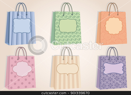 shopping bags with blank labels, vector stock vector clipart, fashion shopping bags with pattern, and blank labels, vector by Beata Kraus