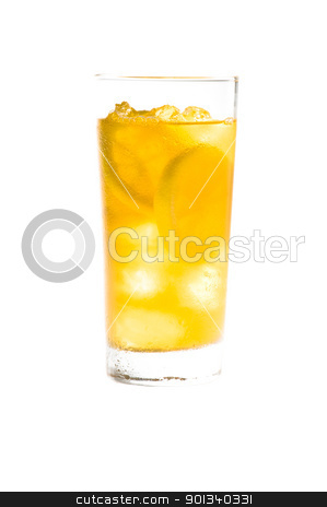 Chilled lemon ice tea over white  stock photo, Chilled lemon ice tea over white in nice yellow color  by Ulrich Schade