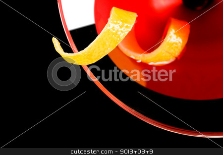 Cosmopolitan cocktail  stock photo, Cosmopolitan cocktail in nice red color in front of a black background by Ulrich Schade