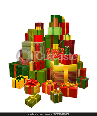 Illustration of large pile of gifts stock vector clipart, Illustration of a large pile of gifts in green, red and gold by Christos Georghiou