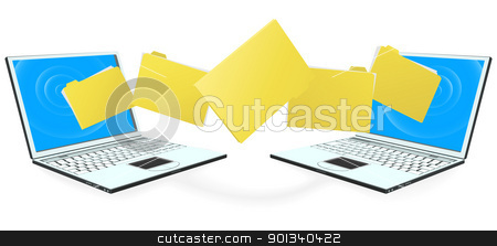 Laptop computers transferring files stock vector clipart, Two laptop computers with file, folder or documents transferring between each other by Christos Georghiou