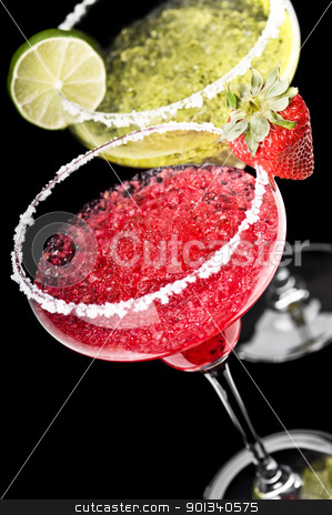 One Classic and a Strawberry Margarita in front of a black backg stock photo, One Classic and a Strawberry Margarita in front of a black background with fresh garnish by Ulrich Schade