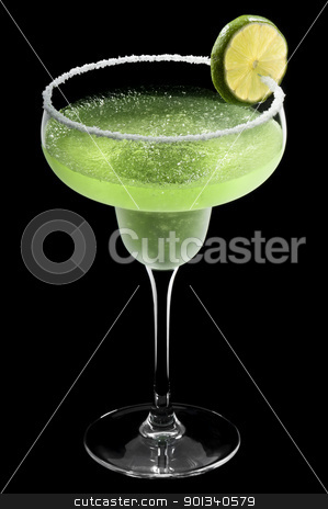 Green Margarita in front of a black background stock photo, Green Margarita in front of a black background with fresh garnish by Ulrich Schade