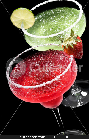 Green and Red Margarita in front of a black background stock photo, Green and Red Margarita in front of a black background with fresh garnish by Ulrich Schade