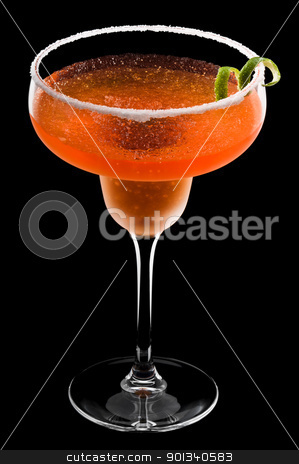Orange Peach Margarita stock photo, Orange Peach Margarita over black background by Ulrich Schade