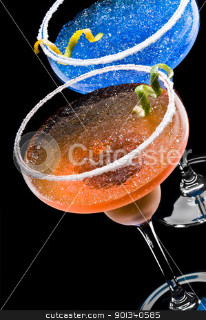 Cobalt and Peach Margarita stock photo, Cobalt and Peach Margarita over black background by Ulrich Schade