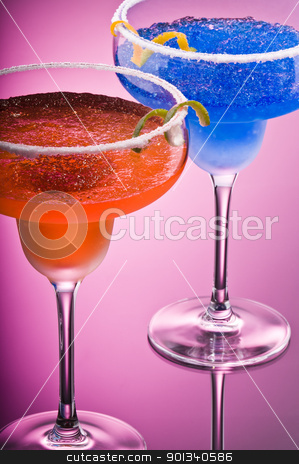 Orange Cobalt Margarita stock photo, Cobalt and Peach Margarita over pink background by Ulrich Schade