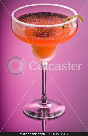 Orange Peach Margarita stock photo, Orange Peach Margarita over pink background by Ulrich Schade