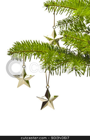 Three golden star as Christmas tree decoration stock photo, Three golden star as Christmas tree decoration, over white by Ulrich Schade