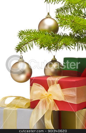 Presents under decorated Christmas tree stock photo, Presents under decorated Christmas tree, partial view by Ulrich Schade