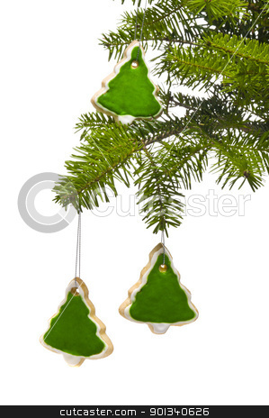 Tree tree shape cookies as Christmas tree decoration stock photo, Tree tree shape cookies as Christmas tree decoration, over white by Ulrich Schade