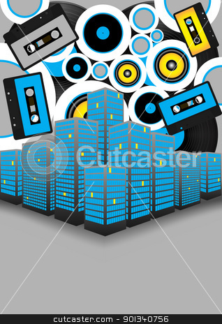 Retro Party in the City stock vector clipart, Retro Party Background - Audio Tapes, Vinyl Records and Skyscrapers on Grey Background by JAMDesign